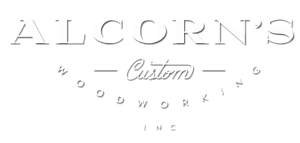 Alcorn's Custom Woodworking logo white
