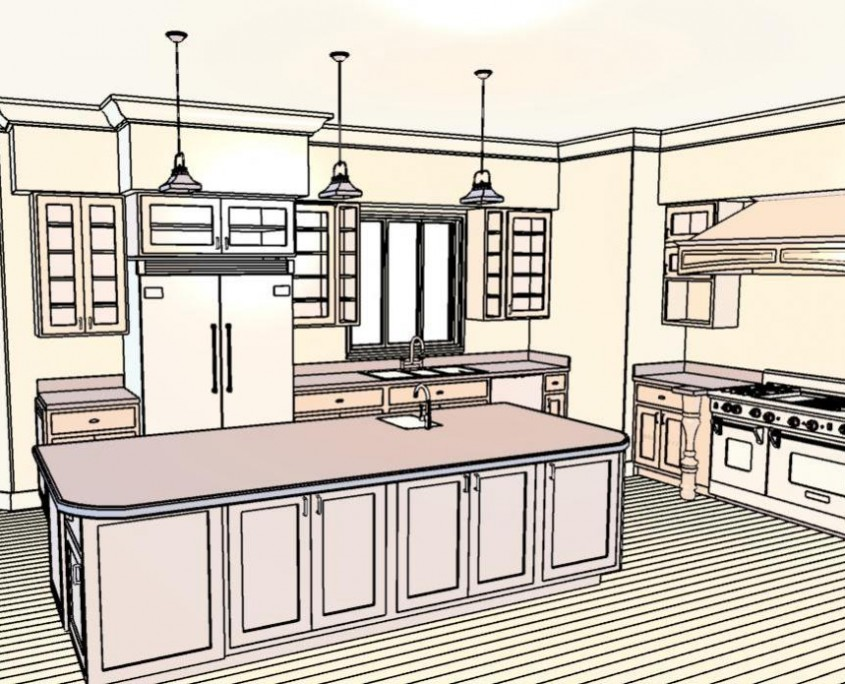 Example kitchen CAD design Alcorn's Woodworking